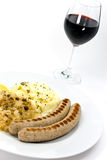 Grilled Sausage With Cabbage And Mashed Potatoes,w Royalty Free Stock Images