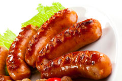 Free Grilled Sausages Stock Photography - 16190342