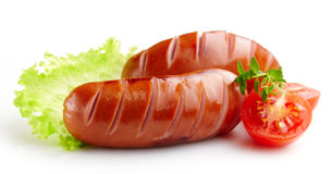 Grilled sausages Royalty Free Stock Images
