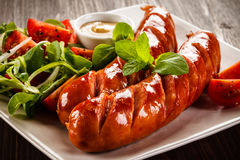 Free Grilled Sausages Stock Images - 66130634