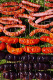 Grilled sausages at bar b cue Stock Photography