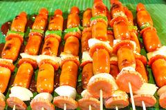 Grilled sausages barbeque. With vegetables Stock Images