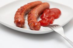 Grilled Sausages for Breakfast Stock Images