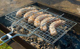 Grilled sausages closeup Stock Image