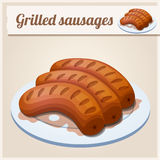 Grilled sausages. Detailed Vector Icon Royalty Free Stock Images