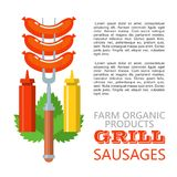 Barbecue, grill. Emblem, logo. Colorful vector illustration in f. Grilled sausages on the fork. Ketchup and mustard. Green Basil leaves. Vector illustration Royalty Free Stock Photos