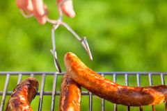 Grilled Sausages at a Garden Barbecue Royalty Free Stock Image
