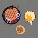 Grilled sausages and glass of beer. Grey background with Grilled sausages and glass of beer. Place for you text. Top view Vector illustration eps 10 Stock Photography