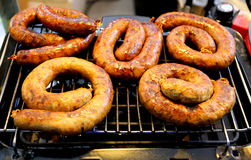 Grilled sausages grill Stock Images
