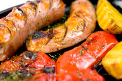 Grilled sausages, macro Royalty Free Stock Image