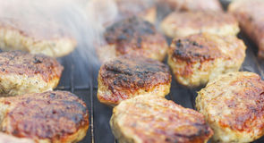 Grilled sausages and meatballs Royalty Free Stock Photos