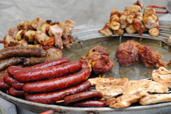 Grilled sausages, meats and kebabs Royalty Free Stock Photography