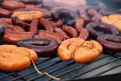 Grilled sausages outdoors Stock Photo