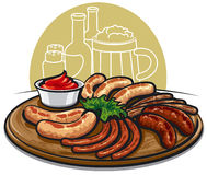 Grilled sausages with sauce Stock Images