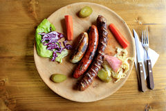 Grilled sausages selection Stock Photos