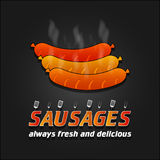 Grilled Sausages vector poster. Barbecue banner Royalty Free Stock Photos