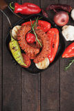 Grilled sausages and vegetables Stock Image