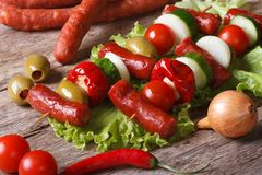 Grilled sausages with vegetables and ingredients horizontal Stock Photos