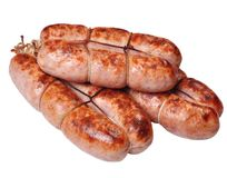 Grilled sausages. On a white background Royalty Free Stock Photography