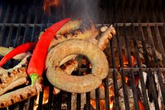 Grilled Sausages  XXXL Royalty Free Stock Photo