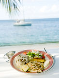 Grilled sauteed cavalli kingfish caribbean style Royalty Free Stock Photography
