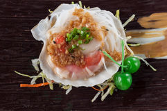 Grilled scallop. With garlic, onion, Japanese cuisine stock photos
