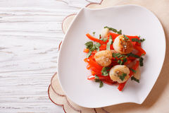 Grilled Scallops with peppers and herbs. horizontal top view Royalty Free Stock Photo