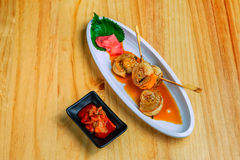 Grilled scallops with sauce and Kimchi Stock Photo