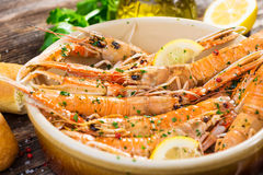 Grilled scampi Stock Photos