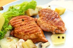 Grilled schnitzel of turkey with vegetables Royalty Free Stock Photos
