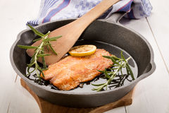 Grilled scottish kipper in a cast iron pan. Grilled scottish kipper with oil and rosemary in a cast iron pan Stock Images