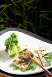 Grilled sea bass fillet with ginger and Pak Choy Royalty Free Stock Photo