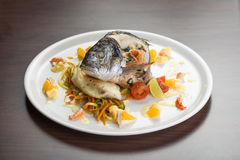 Grilled sea bass fish Royalty Free Stock Images