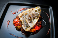 Grilled sea bream fillet. On ratatouille with cherry tomato coulis Stock Images