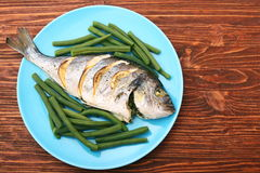 Grilled sea bream fish with green beans Stock Image