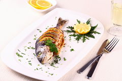 Grilled sea bream fish, lemon, arugula on plate. Grilled sea bream fish, lemon, arugula on white plate, top view Royalty Free Stock Photos