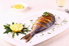 Grilled sea bream fish, lemon, arugula on white plate Stock Photo