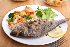 Grilled Sea Bream Fish with Vegetables Stock Image