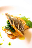 Grilled sea bream with swiss chard Royalty Free Stock Photography