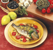 Grilled Sea Bream. With vegetable seasoning Royalty Free Stock Images