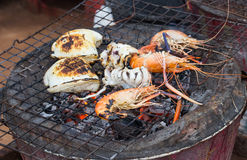 Grilled sea food Royalty Free Stock Photography