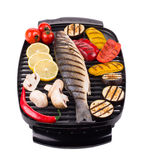 Grilled seabass on grill Royalty Free Stock Photos