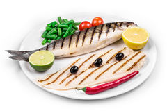 Grilled seabass with pangasius fillet. Royalty Free Stock Photo