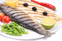 Grilled seabass with pangasius fillet. Royalty Free Stock Photography