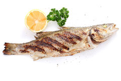 Grilled seabass with pepper and lemon. Fish whole seabass grilled with lemon, herbs and spices. Isolated on a white background Royalty Free Stock Images