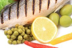 Grilled seabass with vegetables. Stock Photo