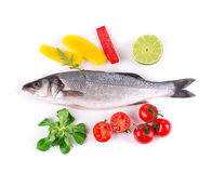 Grilled seabass with vegetables Royalty Free Stock Photo
