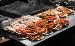 Grilled seafood at Ampawa, Thailand Royalty Free Stock Image