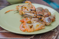 Grilled seafood on dish Stock Photo