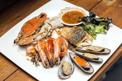 Grilled seafood dishes royalty free stock photography